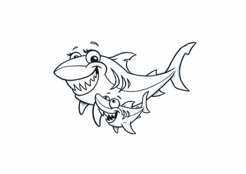 Hình tô màu cá mập đẹp nhất cho bé tập tô (7)