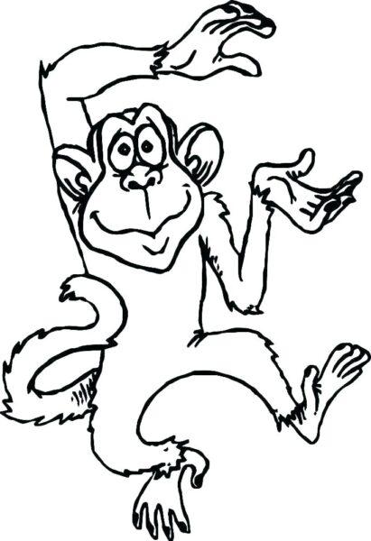 Hình tô màu con khỉ dễ thương cho bé tập tô (5)