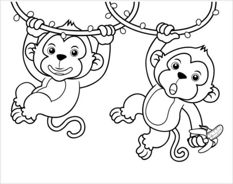 Hình tô màu con khỉ dễ thương cho bé tập tô (7)