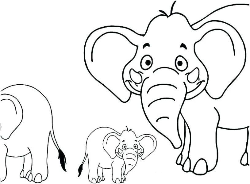 Hình tô màu con voi dễ thương cho bé tập tô (4)