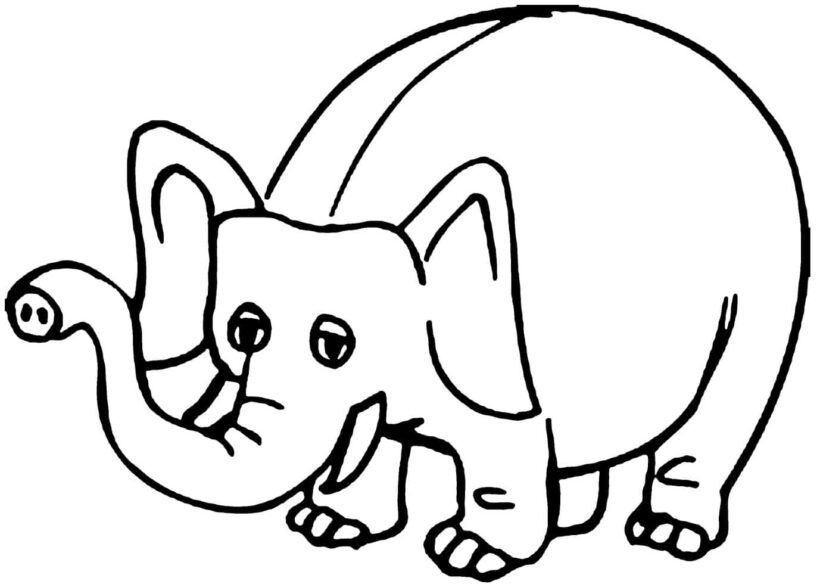 Hình tô màu con voi dễ thương cho bé tập tô (5)