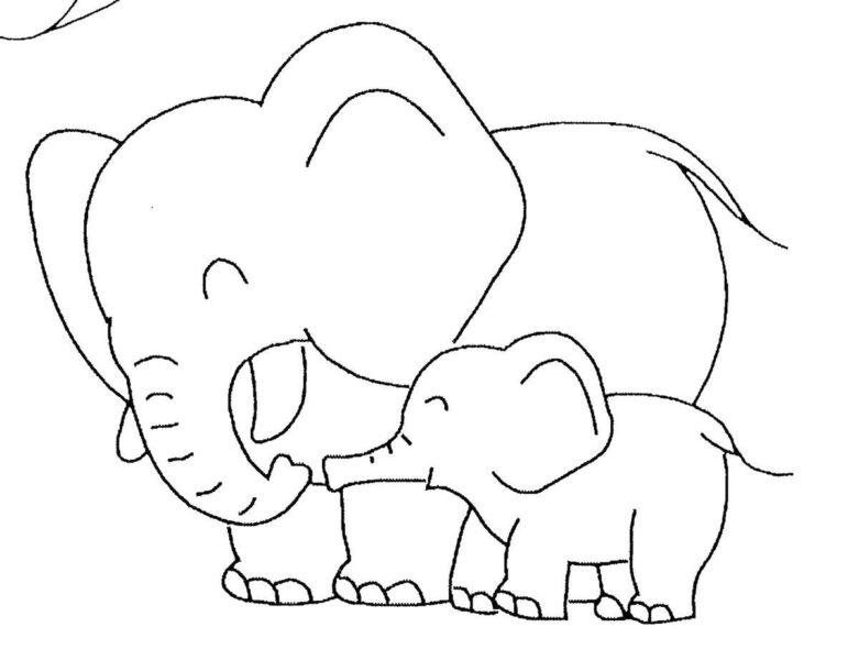Hình tô màu con voi đẹp cho bé tập tô (1)
