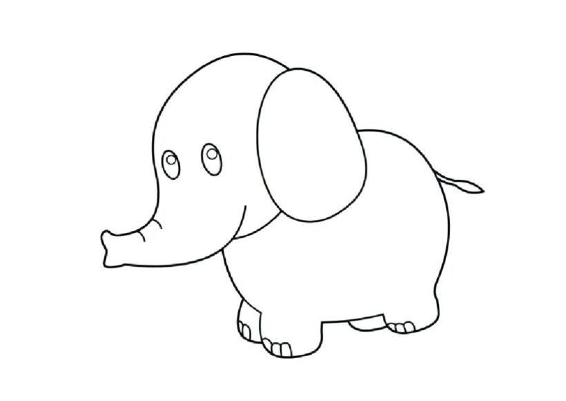 Hình tô màu con voi đẹp cho bé tập tô (2)