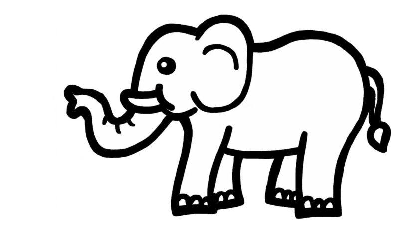 Hình tô màu con voi đẹp cho bé tập tô (3)