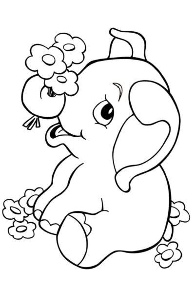 Hình tô màu con voi đẹp cho bé tập tô (4)