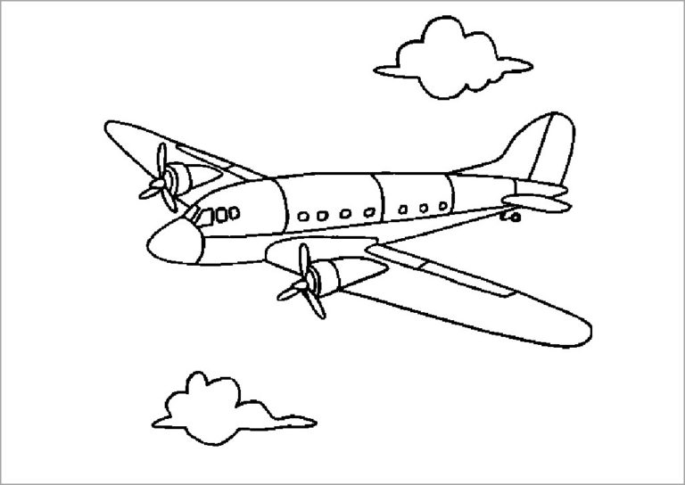 Hình tô màu máy bay đẹp cho bé tập tô (1)