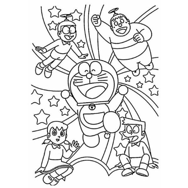 Hình tô màu Nobita đáng yêu cho bé tập tô (2)