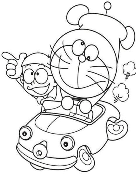 Hình tô màu Nobita đáng yêu cho bé tập tô (8)