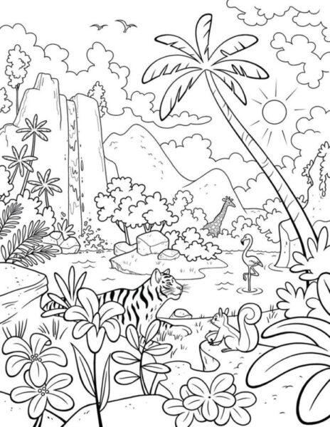 Hình tô màu phong cảnh đẹp cho bé tô màu (4)