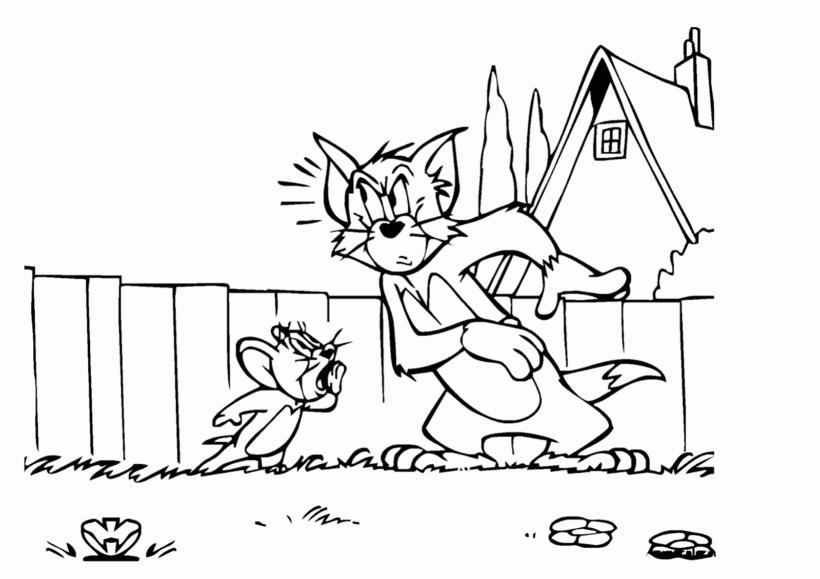 Hình tô màu Tom and Jerry ngộ nghĩnh cho bé tập tô (2)