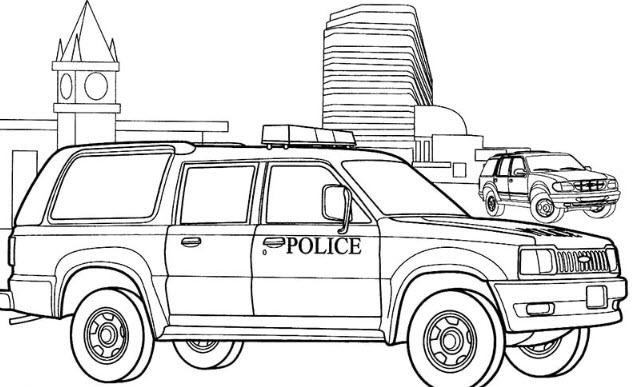 Hình tô màu xe cảnh sát đẹp cho bé tập tô (1)