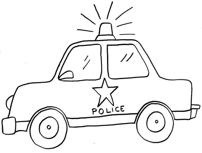 Hình tô màu xe cảnh sát đẹp cho bé tập tô (2)