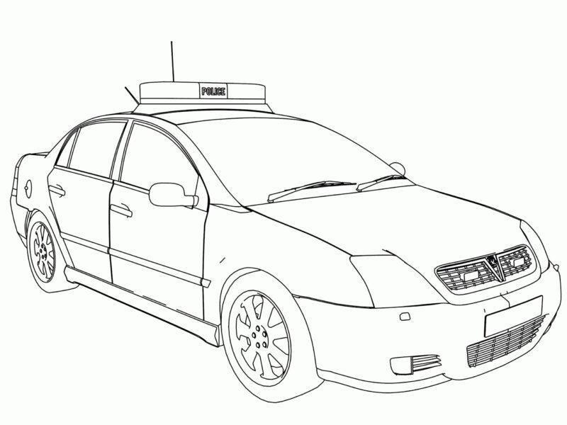 Hình tô màu xe cảnh sát đẹp cho bé tập tô (3)