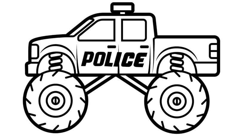 Hình tô màu xe cảnh sát đẹp cho bé tập tô (4)