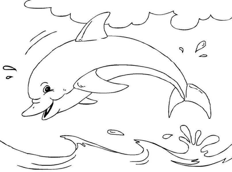 Hình vẽ chưa tô màu cá heo ngộ nghĩnh cho bé tập tô (1)