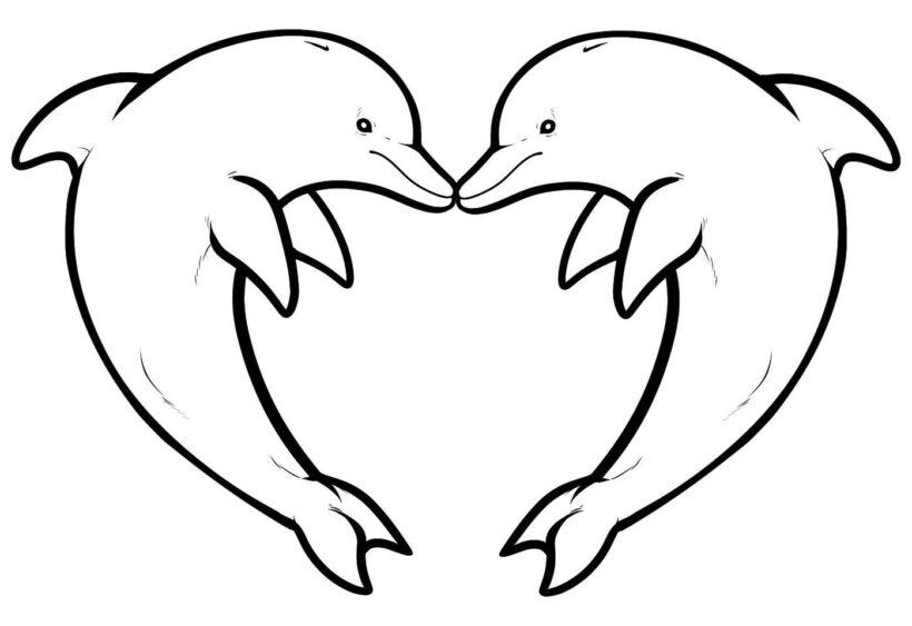 Hình vẽ chưa tô màu cá heo ngộ nghĩnh cho bé tập tô (3)