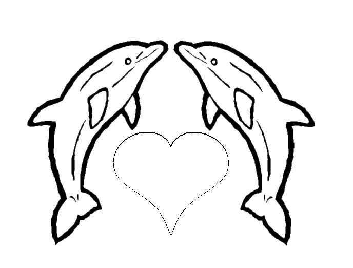 Hình vẽ chưa tô màu cá heo ngộ nghĩnh cho bé tập tô (5)