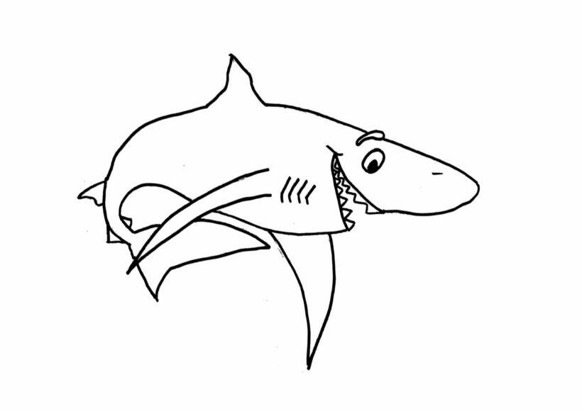 Hình vẽ chưa tô màu cá mập đẹp cho bé tập tô (3)
