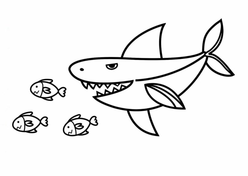 Hình vẽ chưa tô màu cá mập đẹp cho bé tập tô (7)