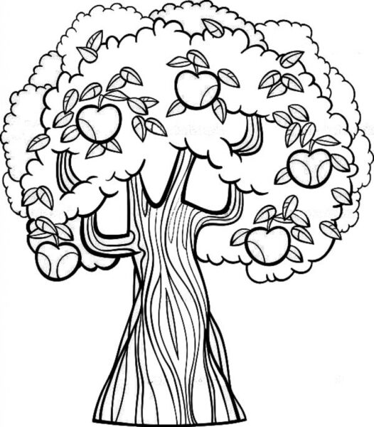 Tree Coloring Pages Getcoloringpages regarding Apple Tree Coloring Pages pertaining to   Encourage   in coloring page