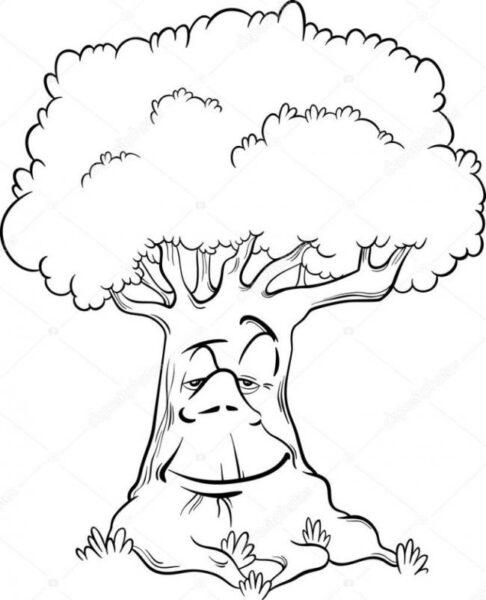 Hình vẽ chưa tô màu cây xanh cho bé tập tô (7)