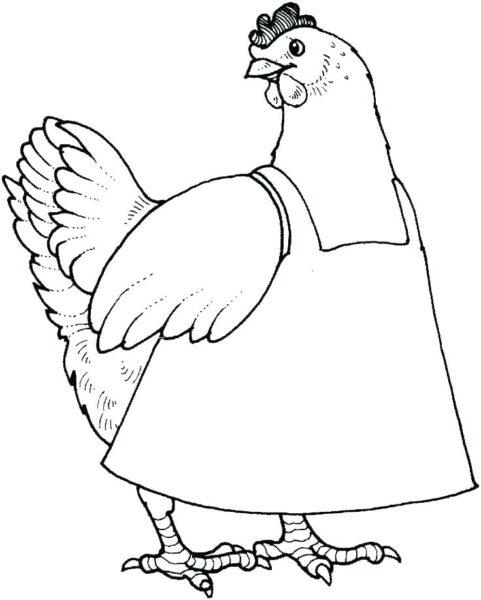 Hình vẽ chưa tô màu con gà ngộ nghĩnh cho bé tập tô (1)