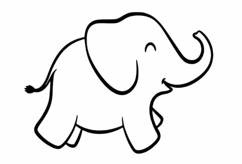 Hình vẽ chưa tô màu con voi đẹp cho bé tập tô (2)