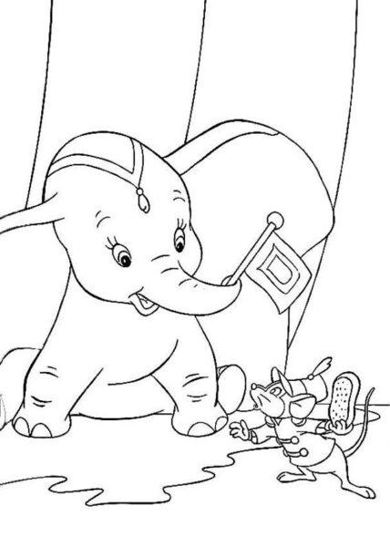 Hình vẽ chưa tô màu con voi đẹp cho bé tập tô (3)