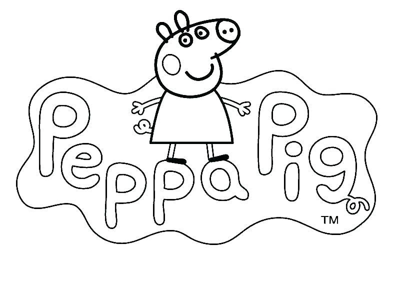 Hình vẽ chưa tô màu heo Peppa cho bé tập tô (1)