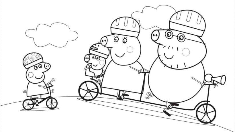 Hình vẽ chưa tô màu heo Peppa cho bé tập tô (2)