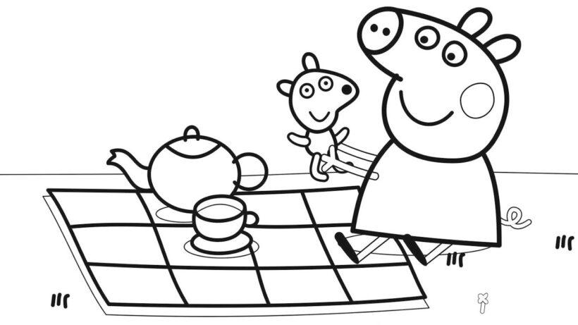 Hình vẽ chưa tô màu heo Peppa cho bé tập tô (3)