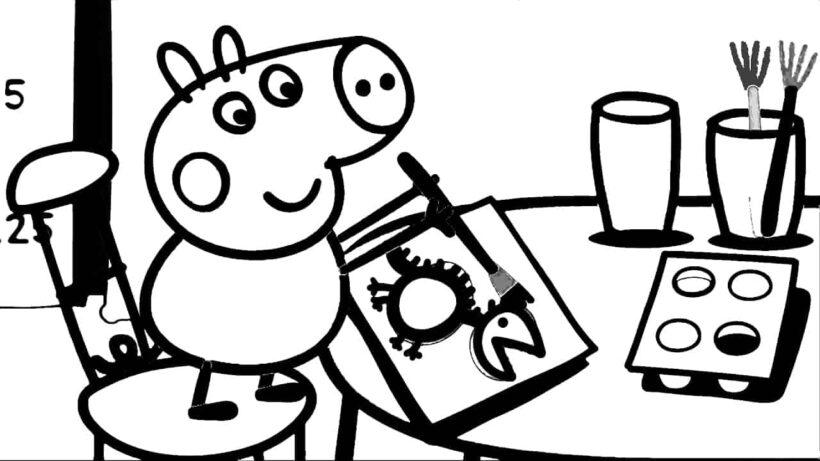 Hình vẽ chưa tô màu heo Peppa cho bé tập tô (4)