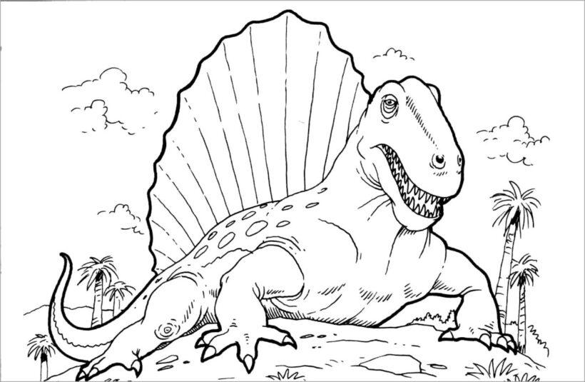Hình vẽ chưa tô màu khủng long cho bé tập tô (6)