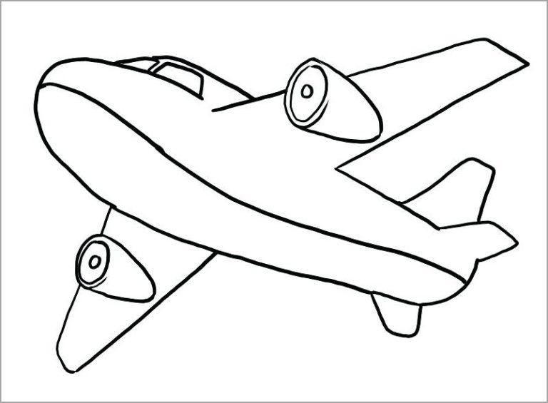 Hình vẽ chưa tô màu máy bay cho bé tập tô (1)