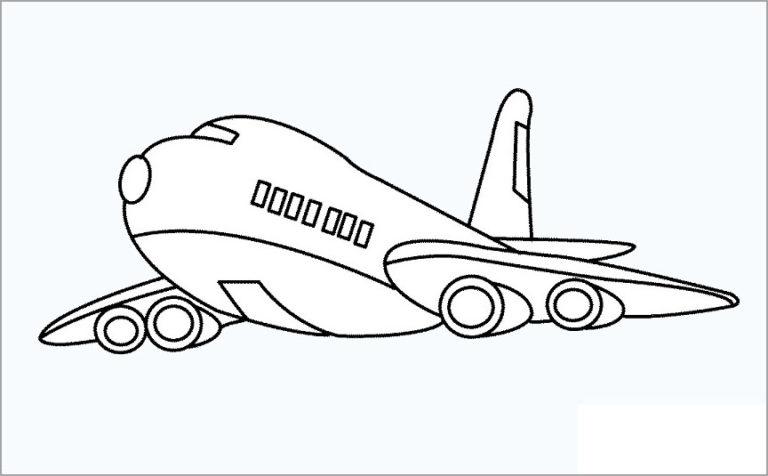 Hình vẽ chưa tô màu máy bay cho bé tập tô (3)