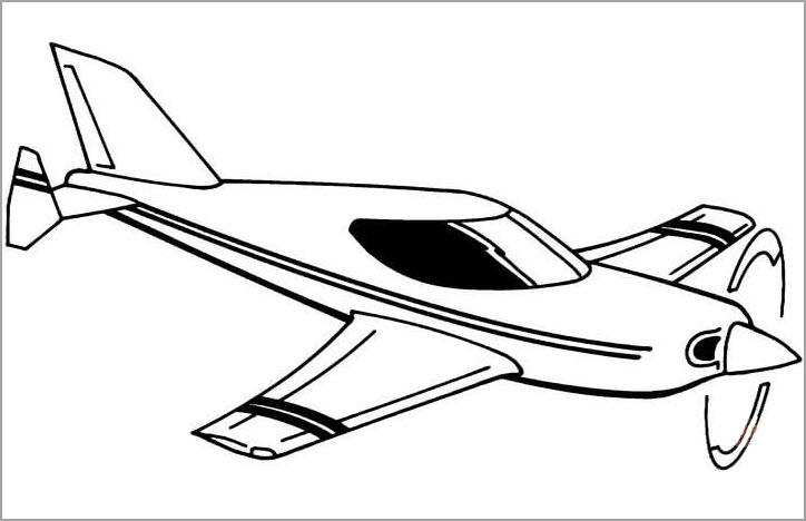 Hình vẽ chưa tô màu máy bay cho bé tập tô (4)