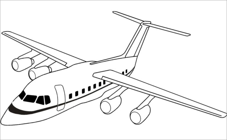 Hình vẽ chưa tô màu máy bay cho bé tập tô (5)