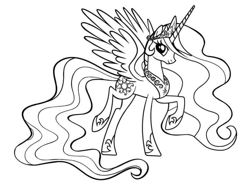 Hình vẽ chưa tô màu ngựa Pony cho bé tập tô (3)