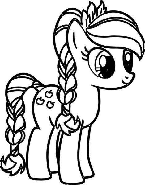 Hình vẽ chưa tô màu ngựa Pony cho bé tập tô (4)