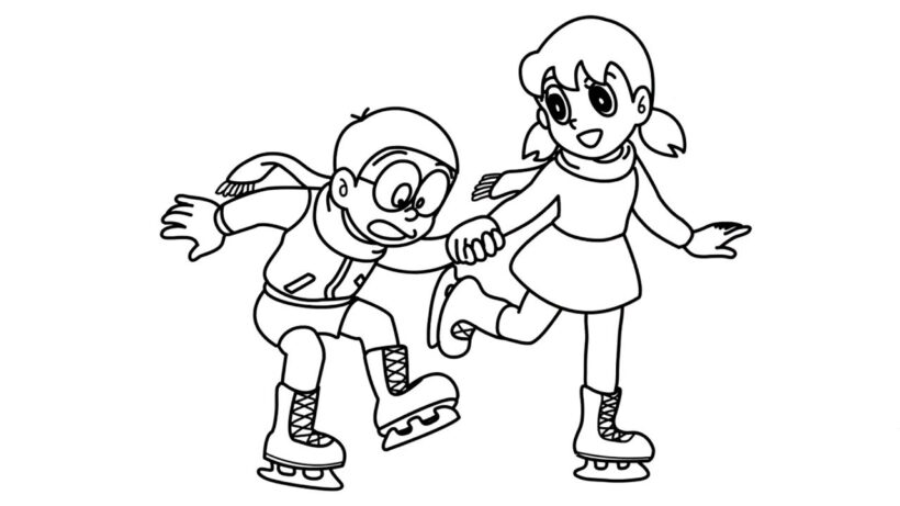 Hình vẽ chưa tô màu Nobita cho bé tập tô (1)