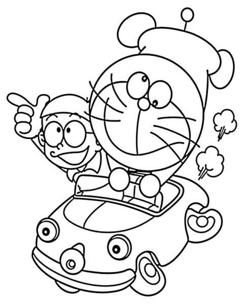 Hình vẽ chưa tô màu Nobita cho bé tập tô (2)