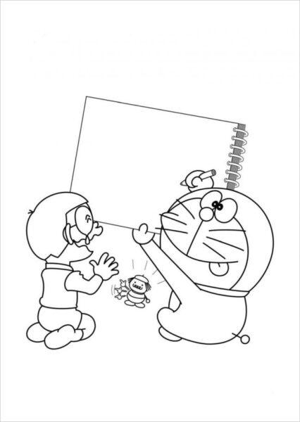 Hình vẽ chưa tô màu Nobita cho bé tập tô (3)