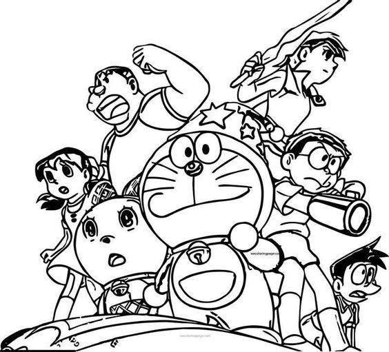 Hình vẽ chưa tô màu Nobita cho bé tập tô (4)
