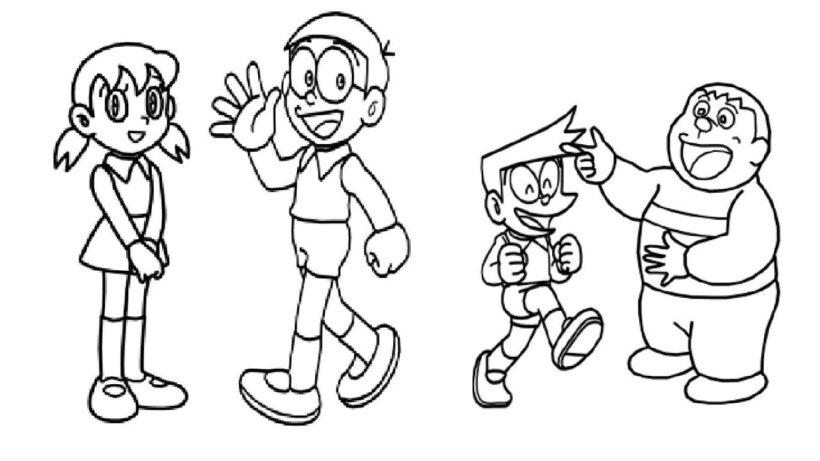 Hình vẽ chưa tô màu Nobita cho bé tập tô (5)
