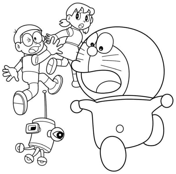 Hình vẽ chưa tô màu Nobita cho bé tập tô (6)