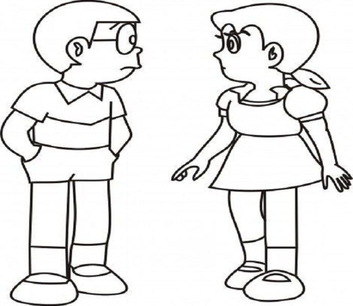 Hình vẽ chưa tô màu Nobita cho bé tập tô (8)