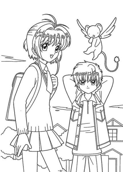 Hình vẽ chưa tô màu Sakura chất nhất cho bé tập tô (1)