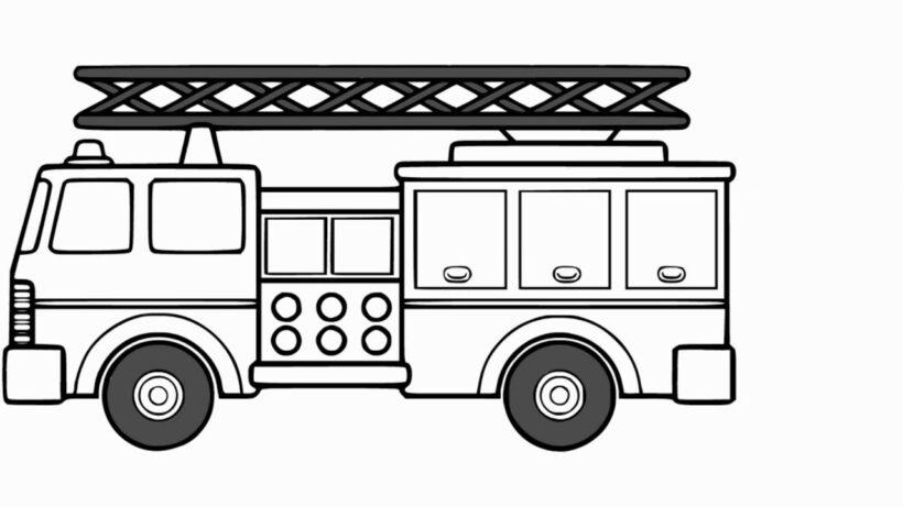 Hình vẽ chưa tô màu xe cứu hoả cho bé tập tô (3)