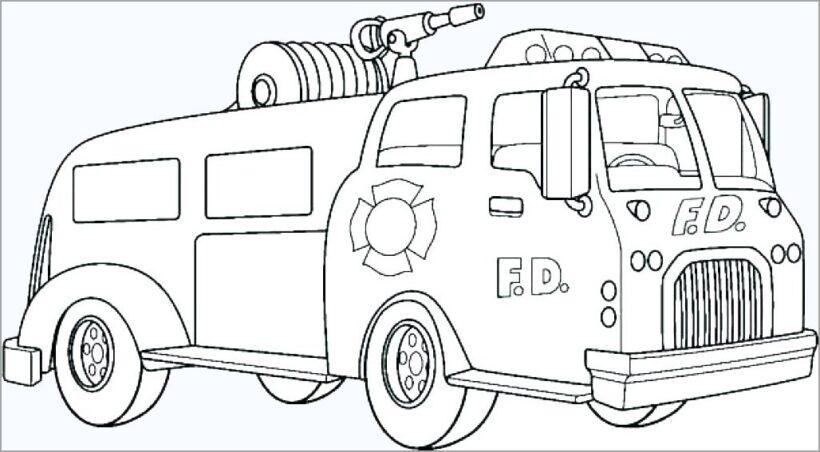 Hình vẽ chưa tô màu xe cứu hoả cho bé tập tô (4)
