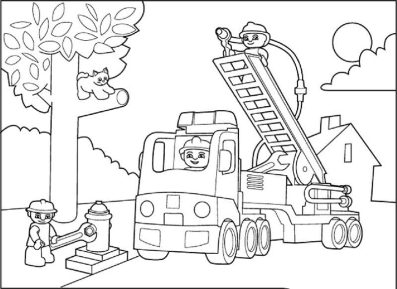 Hình vẽ chưa tô màu xe cứu hoả cho bé tập tô (5)